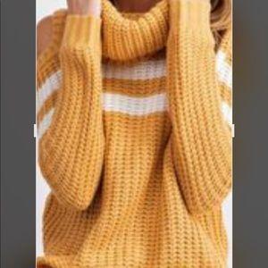 Easel Cowl Neck cold shoulder Mustard Stripe white